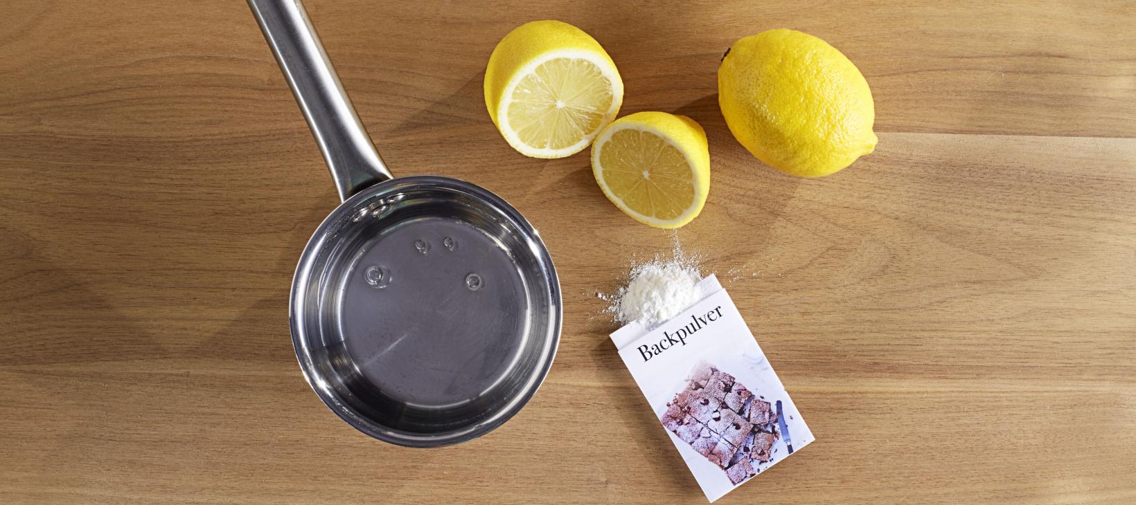 Tipp Abfluss reinigen Material: Zitronen und Backpulver