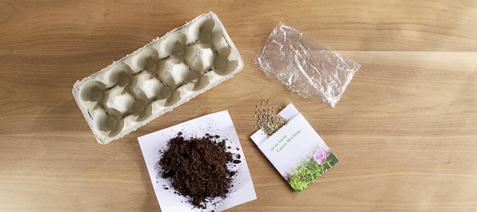 Anzuchtbeet Tipp Material: Eierkarton